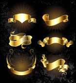 Set of gold ribbons set — Stock Vector