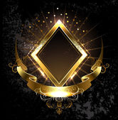 Gold banner rhombus — Stock Vector