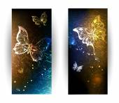 Two banners with glowing butterflies — Stock Vector