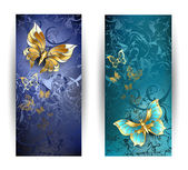 Two banners with gold butterflies — Stock Vector