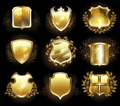 Set of golden shields — Stock Vector