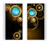Two banners with gears — Stock Vector