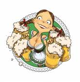 Oktoberfest girl with glass of beer — Stock Vector