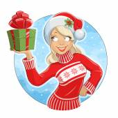 Girl in Santa Claus costume with gift box — Stock Vector