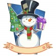 Snowman with gift. — Stock Vector #56075249