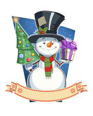 Snowman with gift. — Stock Vector