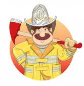 Fireman in uniform with ax. — Stock Vector