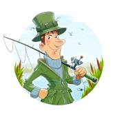 Fisherman with rod. Fishing — Stock Vector
