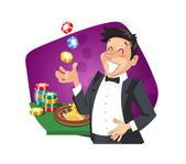 Man play roulette in casino — Stock Vector
