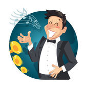 Singer sing with orchestra — Stock Vector