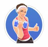Girl with dumbbells for fitness — ストックベクタ