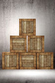 Old wooden boxes — Stock Photo