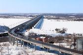 Bridge over the river in winter — Stock Photo