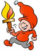 Hand-drawn Vector illustration of an Happy Christmas Elf running with a torch flame — Stock Vector