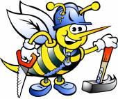 Hand-drawn Vector illustration of an Happy Working Carpenter Bee — Cтоковый вектор