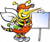 Hand-drawn Vector illustration of an Happy Working Bee Holding a Sign — Stockvektor