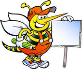 Hand-drawn Vector illustration of an Happy Working Bee Holding a Sign — Vettoriale Stock
