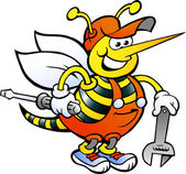 Hand-drawn Vector illustration of an Happy Working Bee Holding Wrench and Screw Driver — Stockvektor