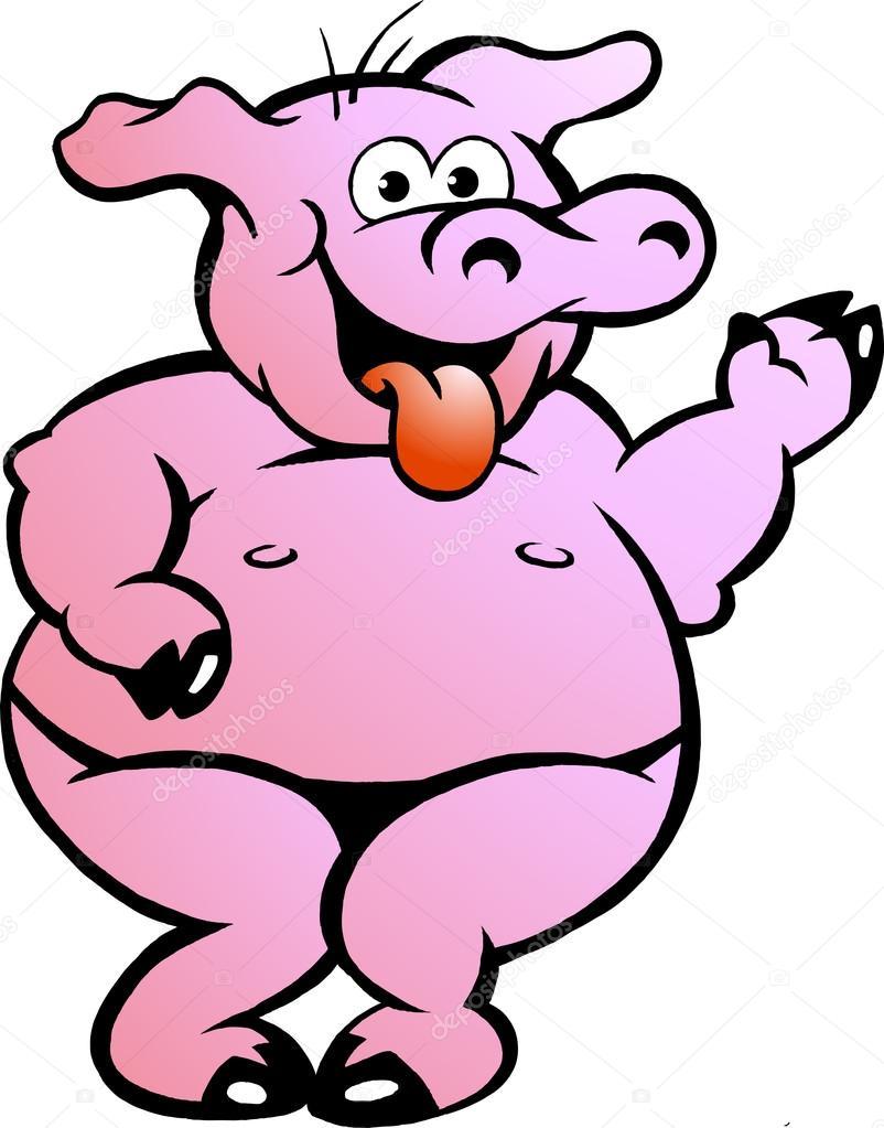 Fat cartoon pigs