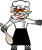 Hand-drawn Vector illustration of an Happy Bull Chef standing and welcome with a spoon in his hove — Stok Vektör