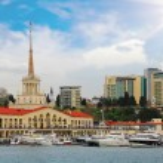 Sea port an marina in Sochi, Russia — Stock Photo #73243895