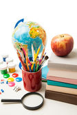 Globe, notebook stack and pencils isolated — Stock Photo