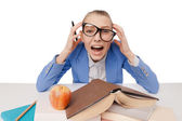 Shouting and tired student girl wearing eyeglasses — Stock Photo