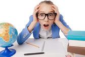 Shocked overwhelmed student wearing glasses — Stock Photo
