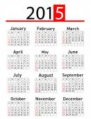 Simple 2015 year vector calendar — Stock Photo