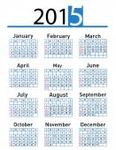 2015 rok vektor kalendář — Stock fotografie