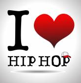 I love hip hop, font type with signs — Stock Vector