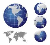 Vector Map and Globe of the World — Stock Vector