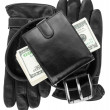 Mens wallet,money, belt and gloves — Stock Photo #56421213