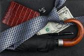 Галстук, зонтик, перо, бумажник, запонки, деньги, лежащие на коже — Стоковое фото