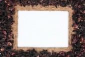 Frame made of burlap with the line and  hibiscus  lies on white — Stock Photo