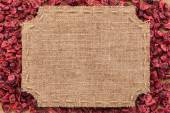 Figured frame made of burlap on dried cranberry — Stock Photo