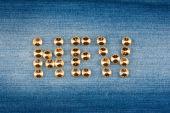 Inscription new made of rhinestones — Stock Photo
