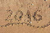 Year 2016 Written On Beach Sand — Stock Photo