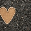 Symbolic heart made of rope lies on sackcloth and sunflower seed — Stock Photo #80141364