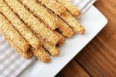 Bread sticks with sesame — Stock Photo