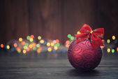 Red christmas decorative ball — Stock Photo