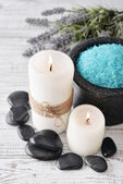 Candles with lavender flowers — Stock Photo