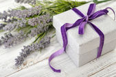 Gift box with lavender — Stock Photo