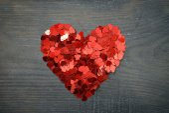 Confetti in shape of heart — Stock Photo