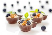 Three Blueberry and mascarpone dessert in chocolate cups, garnis — Stock Photo