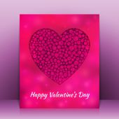 Valentines Day greeting card with blurred heart. Vector background — Vettoriale Stock