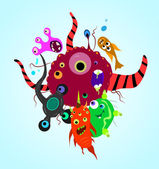 Fantastic toilet monsters microbes — Stock Vector