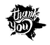 Thank you ink hand drawn lettering — Stock Vector