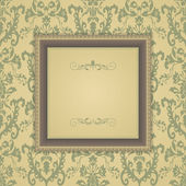Vintage frame on victorian seamless background — Stock Vector