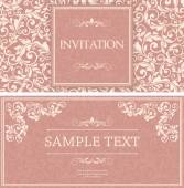 Set of antique greeting cards, invitation with victorian ornamen — Stock Vector